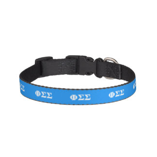 Phi Sigma Sigma White and Blue Letters Pet Collar