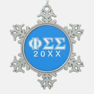 Phi Sigma Sigma White and Blue Letters Snowflake Pewter Christmas Ornament