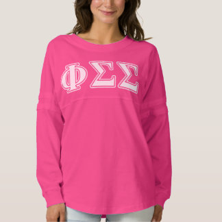 Phi Sigma Sigma White and Blue Letters Spirit Jersey