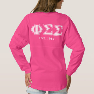 Phi Sigma Sigma White and Yellow Letters Spirit Jersey