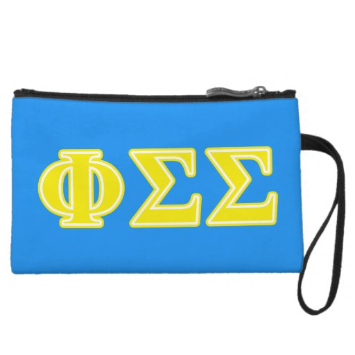 Phi Sigma Sigma Yellow Letters Wristlet Purses