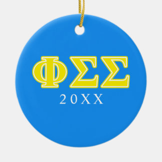 Phi Sigma Sigma Yellow Letters Christmas Ornament