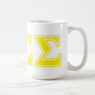 Phi Sigma Sigma Yellow Letters Coffee Mug