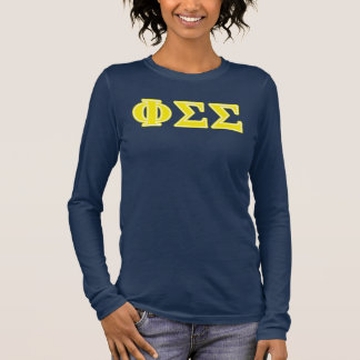Phi Sigma Sigma Yellow Letters Long Sleeve T-Shirt
