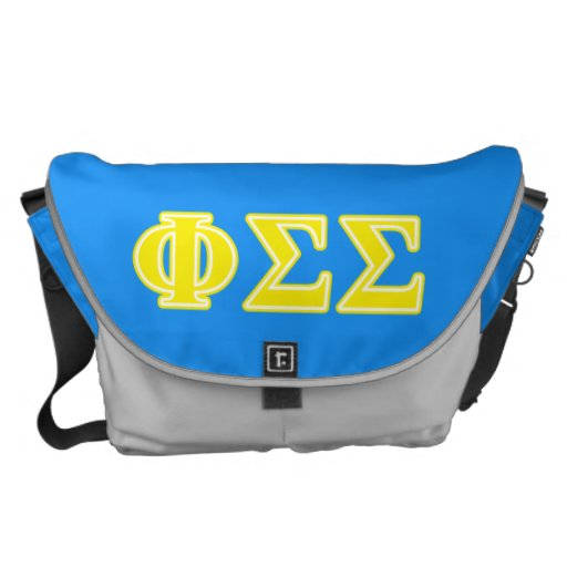 Phi Sigma Sigma Yellow Letters Messenger Bags