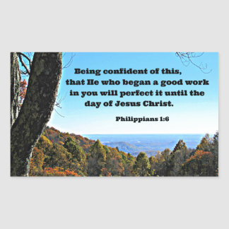 Phil. 1:6 Being confident of this, that he who.. Rectangle Stickers