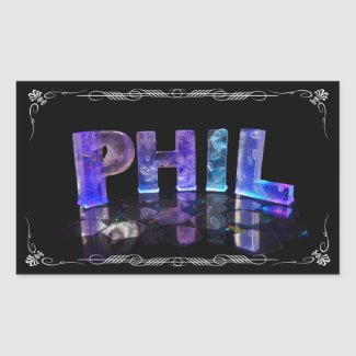Phil - The Name Phil in 3D Lights (Photograph) Stickers