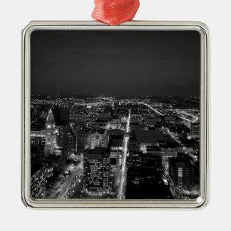 Philadelphia Black And White Skyline Christmas Ornament