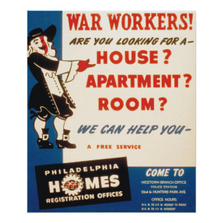 Philadelphia can help War Workers find Housing Poster
