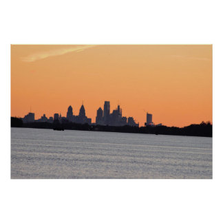 Philadelphia Delaware River Sunset Poster