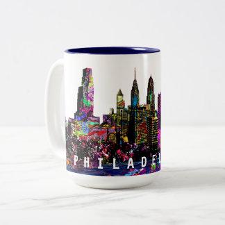 Philadelphia in graffiti Two-Tone coffee mug