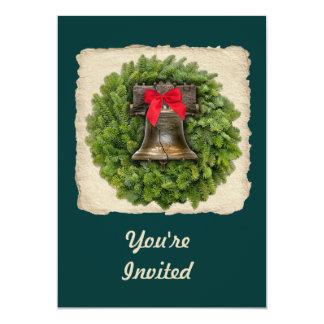 Philadelphia Liberty Bell Wreath on Parchment 13 Cm X 18 Cm Invitation Card