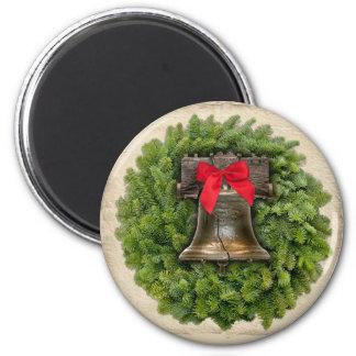 Philadelphia Liberty Bell Wreath on Parchment 6 Cm Round Magnet