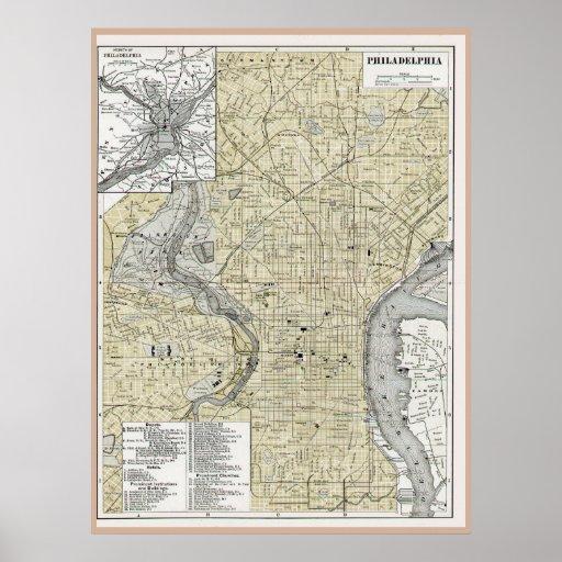 Philadelphia Map 1895 replica Poster