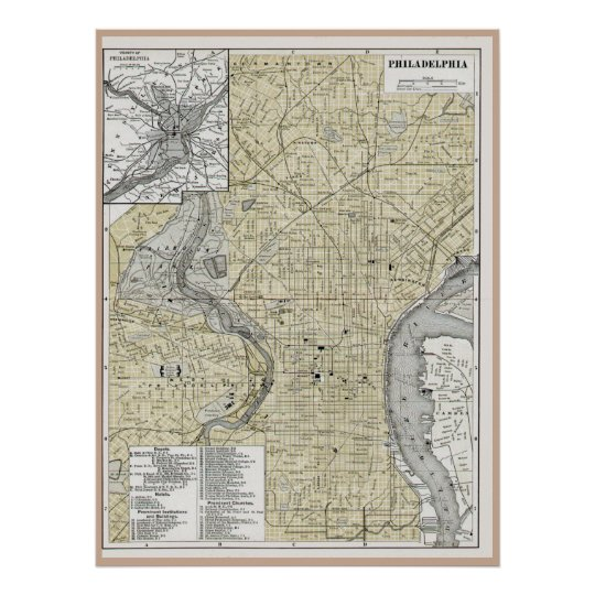 Philadelphia Map 1895 replica Poster