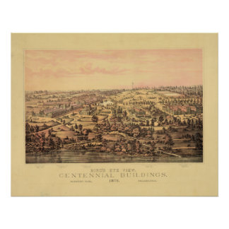 Philadelphia PA 1876 Centennial Bldgs Fairmount Pk Poster