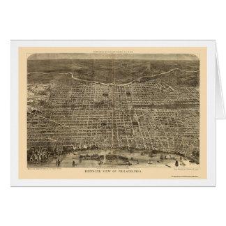 Philadelphia, PA Panoramic Map - 1872 Card