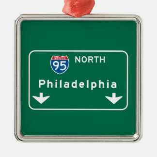Philadelphia, PA Road Sign Christmas Ornament
