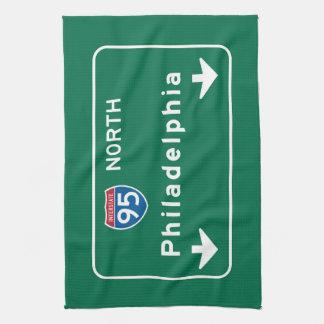 Philadelphia, PA Road Sign Tea Towel