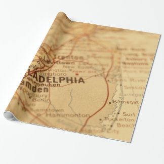 Philadelphia, PA Vintage Map Gift Wrap