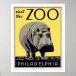 Philadelphia PA Zoo Hippo 1936 WPA Poster
