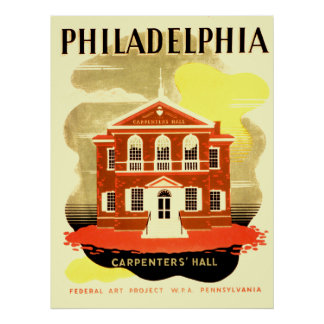 Philadelphia Pennsylvania Carpenters Hall Poster