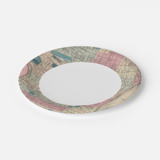 Philadelphia, Pennsylvania Map 7 Inch Paper Plate