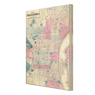 Philadelphia, Pennsylvania Map Canvas Print