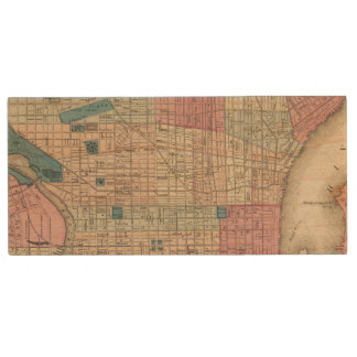 Philadelphia, Pennsylvania Map Wood USB 2.0 Flash Drive