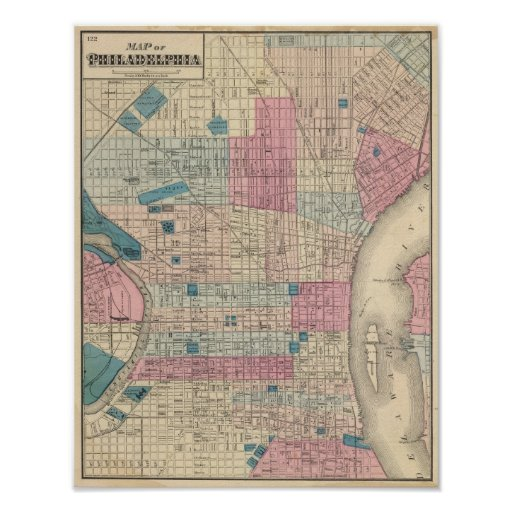 Philadelphia, Pennsylvania Map Print