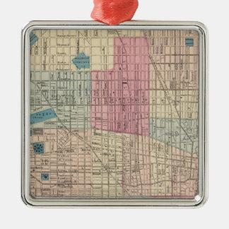 Philadelphia, Pennsylvania Map Silver-Colored Square Decoration