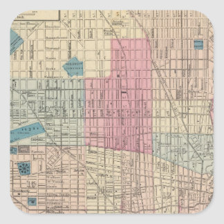 Philadelphia, Pennsylvania Map Square Sticker