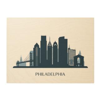 Philadelphia, Pennsylvania | Monochromatic City Wood Print