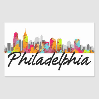 Philadelphia Pennsylvania Skyline Rectangular Sticker