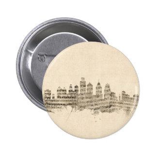 Philadelphia Pennsylvania Skyline Sheet Music City 6 Cm Round Badge