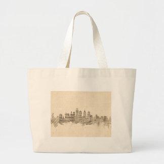 Philadelphia Pennsylvania Skyline Sheet Music City Large Tote Bag