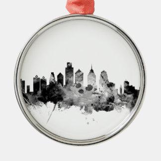 Philadelphia Pennsylvania Skyline Silver-Colored Round Decoration