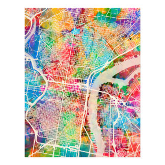 Philadelphia Pennsylvania Street Map 21.5 Cm X 28 Cm Flyer