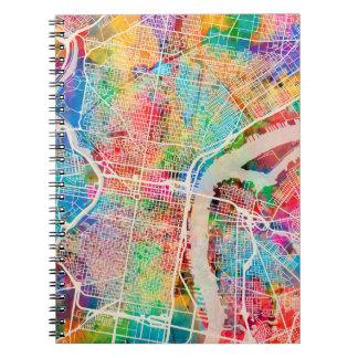 Philadelphia Pennsylvania Street Map Spiral Notebook