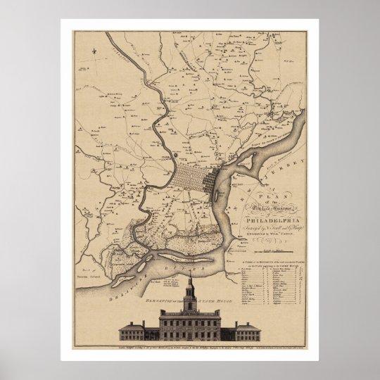 Philadelphia Plan Map - 1777 Poster