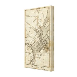 Philadelphia Road Map Canvas Print