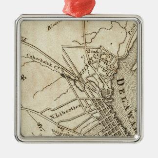 Philadelphia Road Map Silver-Colored Square Decoration