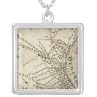 Philadelphia Road Map Silver Plated Necklace