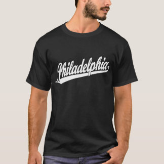 Philadelphia script logo in white T-Shirt