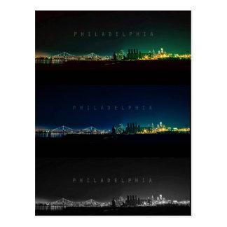Philadelphia skyline at night. postcard