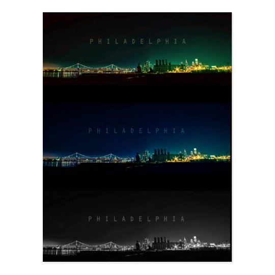 Philadelphia skyline at night. postcard