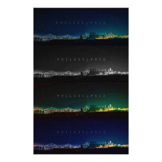 Philadelphia skyline at night personalized stationery