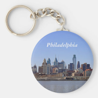 Philadelphia Skyline Basic Round Button Key Ring