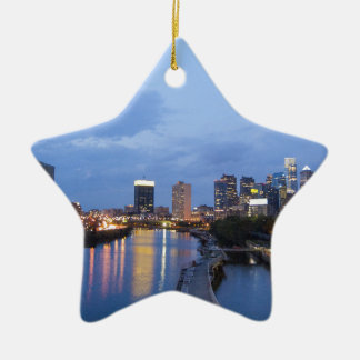 Philadelphia skyline ceramic star decoration