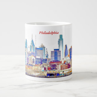 Philadelphia Skyline Color Sketch Jumbo Mug
